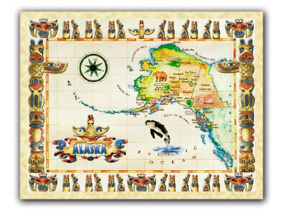 map of alaska with cities and towns.  framable antique-looking map of Alaska. Features major cities and towns.