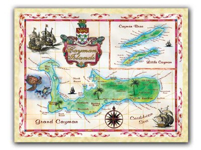 Cayman Islands Map Poster