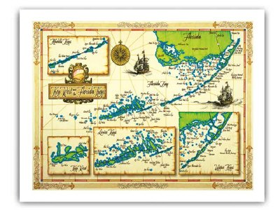 photograph about Printable Map of Florida Keys identify Florida Keys Map Framing Print