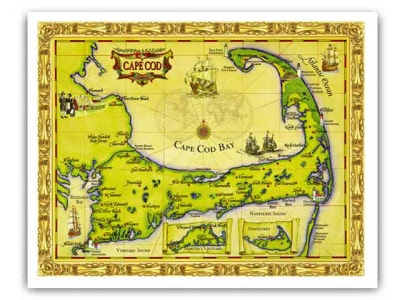 graphic regarding Printable Map of Cape Cod titled Cape Cod Map Framing Print